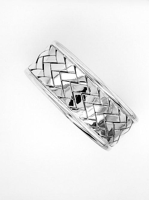 Basket Weave Cuff Bracelet - Sterling