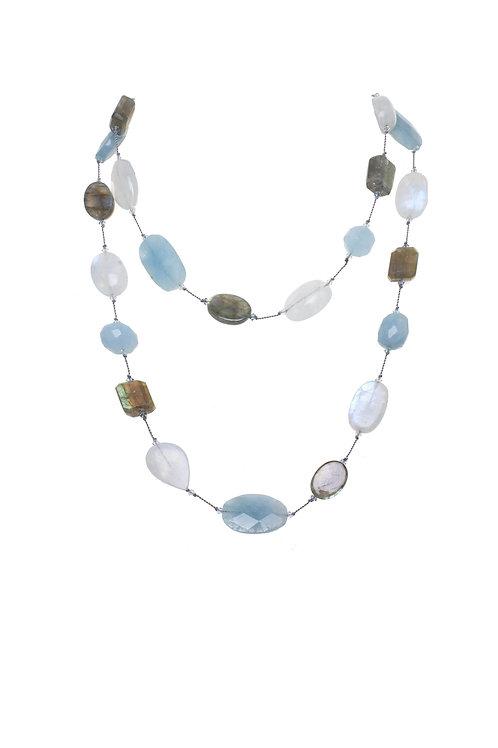 Margo Morrison - Moonstone, Labradorite & Aquamarine Necklace