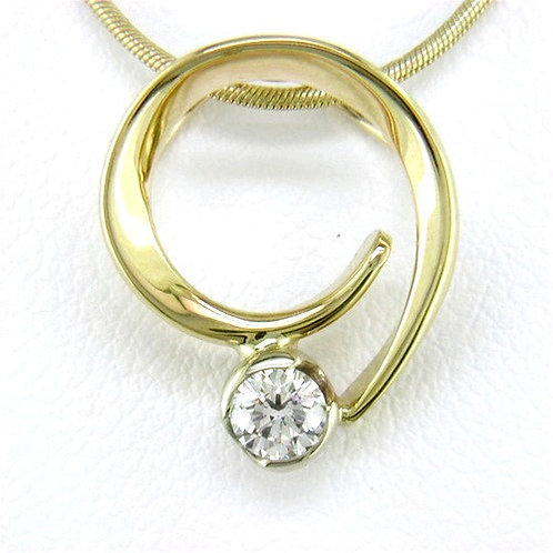 Tom Kruskal - Diamond Curl Pendant - 14kt Gold & Diamond