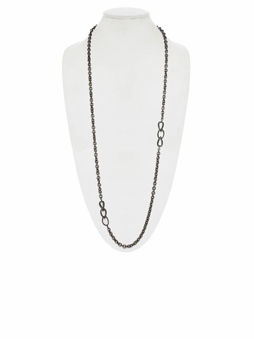 Rhodium & Black Spinel Chain - Margo Morrison