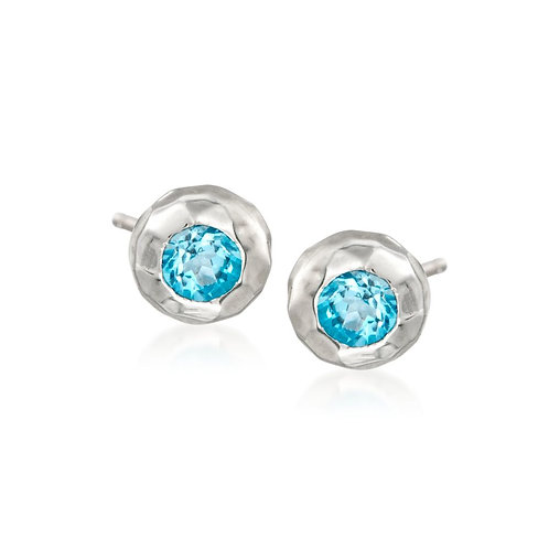 """Ripple"" Stud Earring With Blue Topaz - Sterling Silver"