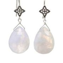 Moonstone & White Sapphire Earrings - Margo Morrison
