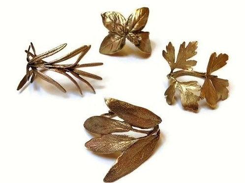 """Italian Herb"" Napkin Rings - Bronze"