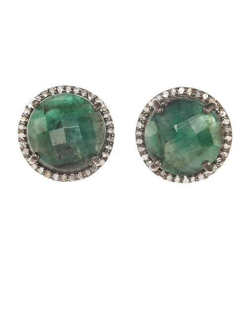 Raw Emerald & Diamond Stud Earrings