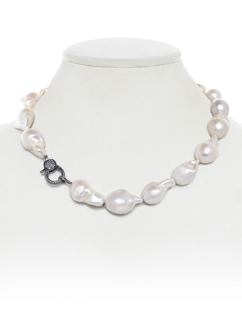 Margo Morrison - Organic White Baroque Pearl Necklace With Pave Diamond Clasp