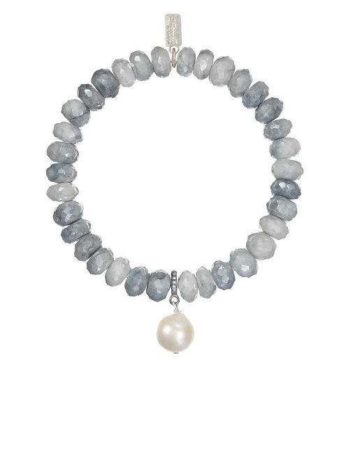 Blue/Grey Silverite & Baroque Pearl Bracelet - Margo Morrison