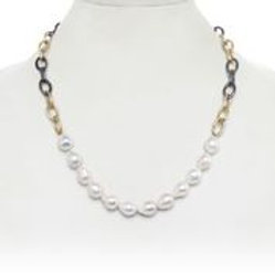 Two Tone Sterling Silver Chain With Baroque Pearls - Margo Morrison