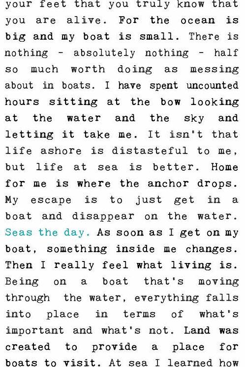 """""""Boating"""" Typewriter Sign"""