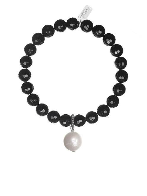 Black Onyx & White Baroque Pearl Bracelet - Margo Morrison