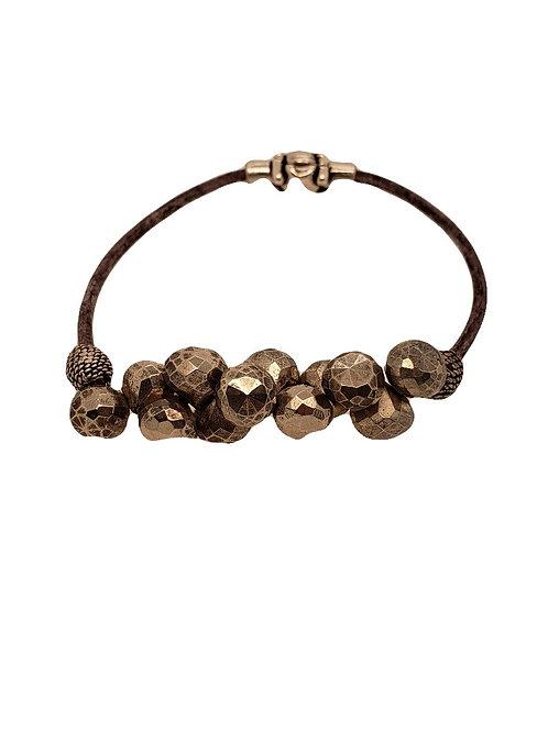 Pyrite & Leather Bracelet - Dana Martell