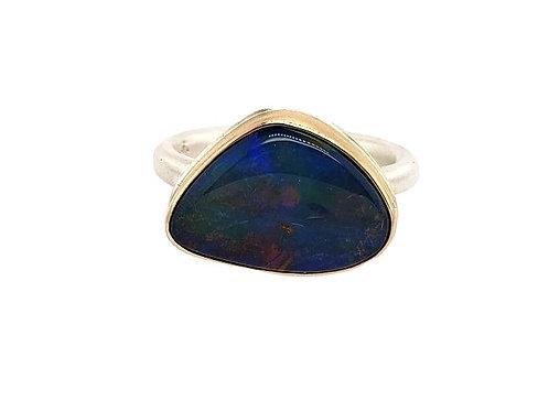 Jamie Joseph - Boulder Opal Ring - Sterling Silver & 14kt Gold