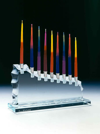 Menorah - Oblique Shape in Kiln Fired Glass
