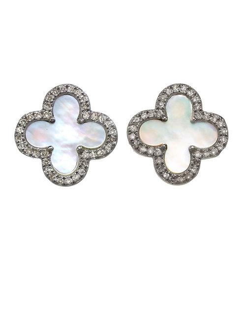 Mother of Pearl & Diamond Clover Post Earrings - Margo Morrison
