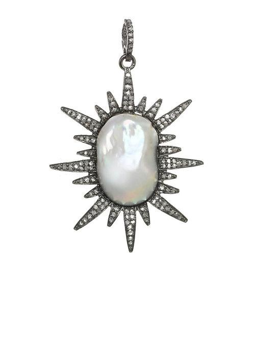 "Baroque Pearl & Diamond ""Sun"" Charm - Margo Morrison"