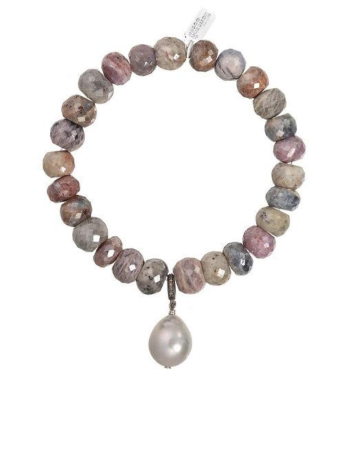 Mystic Silverite & White Baroque Pearl Bracelet - Margo Morrison