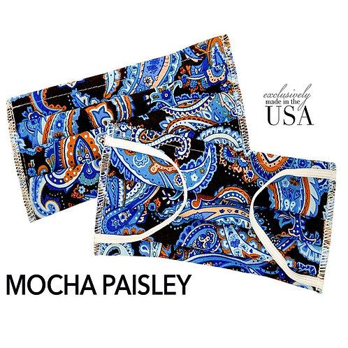 """Cotton Print Face Mask - """"Mocha Paisley"""""""