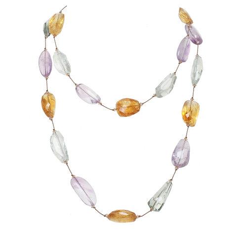 Margo Morrison - Citrine, Green & Purple Amethyst Necklace