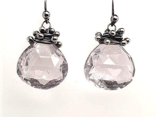 """Swarm"" Earrings - Sterling Silver & Pink Amethyst"