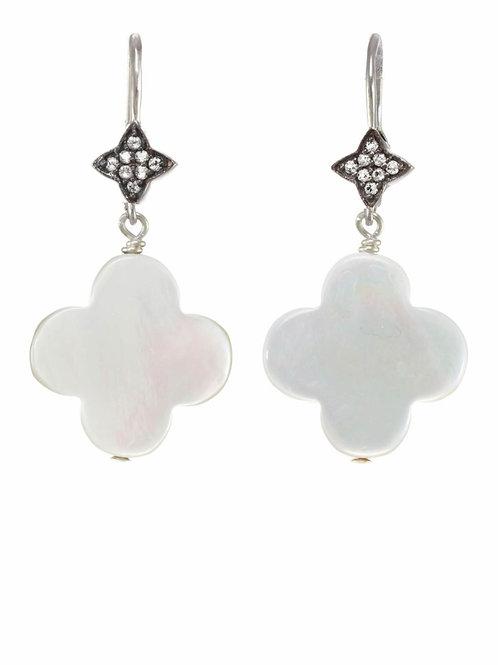Mother of Pearl & White Sapphire Earrings - Margo Morrison