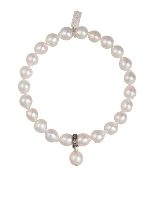 Margo Morrison - Small Baroque Pearl & Pave Diamond Bracelet