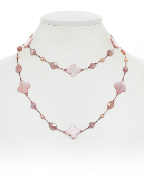 Rose Quartz Clover Shape & Peach Moonstone Necklace - Margo Morrison