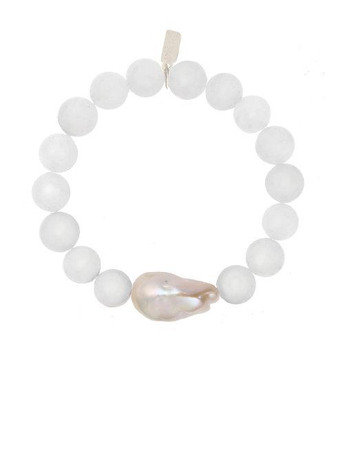Margo Morrison - White Jade & Baroque Pearl Bracelet