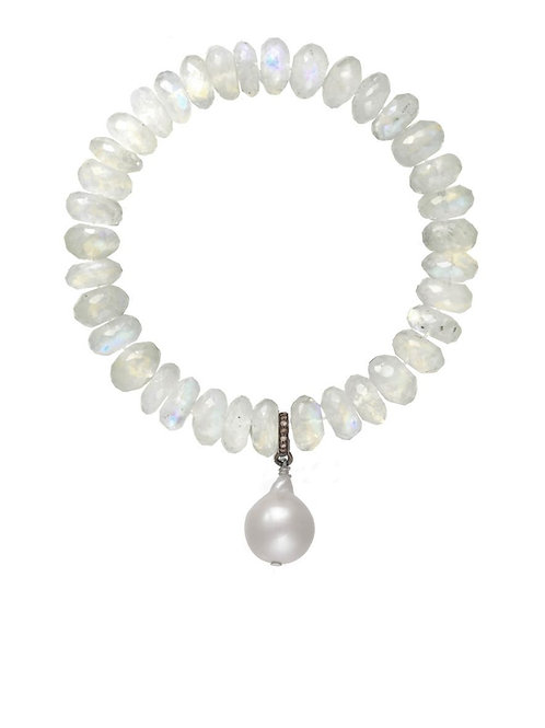 Moonstone & White Baroque Pearl Bracelet - Margo Morrison