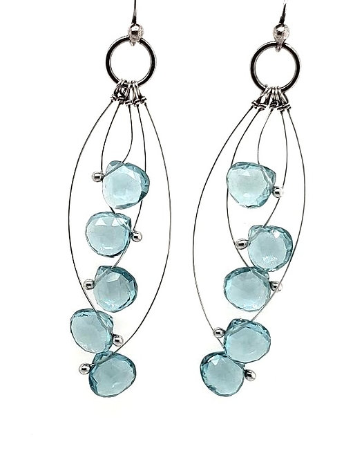 """Tickle"" Earrings - Sterling Silver & Aqua Quartz"