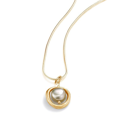 Vermeil Circle Necklace With Pearl - Philippa Roberts