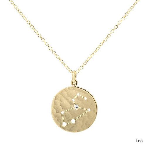 Celestial Sign Necklace - Leo - 18kt Gold & Diamond - Anne Sportun