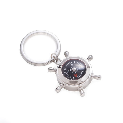Compass & Ship's Wheel Design Key Ring
