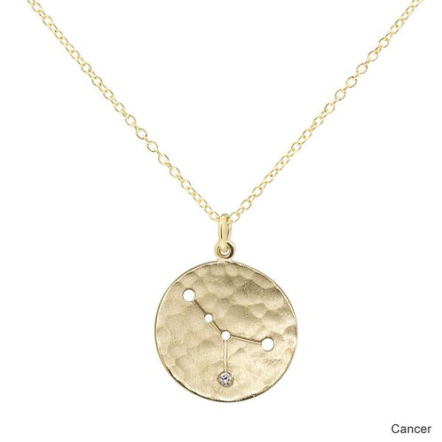 Celestial Sign Necklace - Cancer - 18kt Gold & Diamond - Anne Sportun