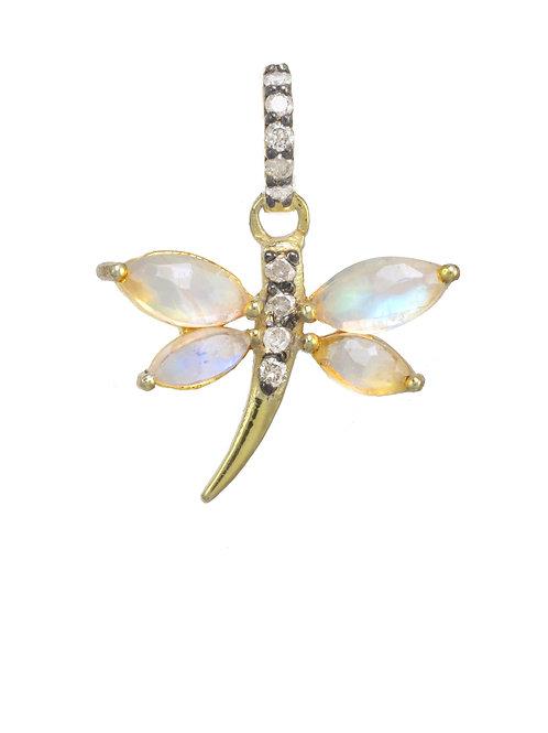 Margo Morrison - Rainbow Moonstone & Diamond Dragonfly Charm