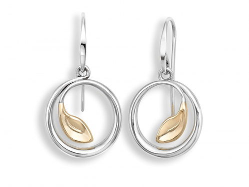 """Be-Leaf"" Earrings - Sterling Silver & 14kt Gold - Ed Levin Studio"