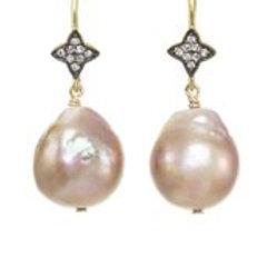 Baroque Pearl & White Sapphire Earrings - Margo Morrison