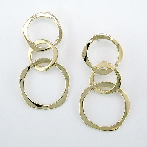 Variegated Circle Earrings - 14kt Gold - Tom Kruskal