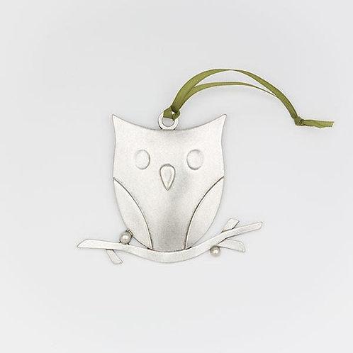 Owl Ornament Pewter