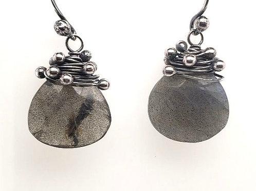 """""""Swarm"""" Earrings - Sterling Silver & Labradorite"""