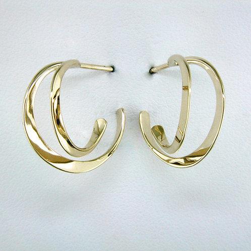 Double Curve Earrings - 14kt Gold
