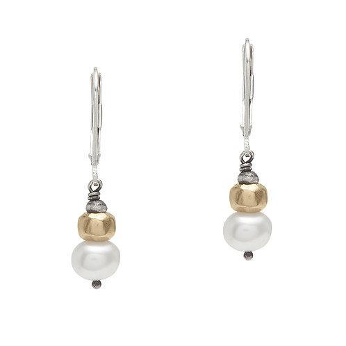Pearl, Sterling & Vermeil Drop Earrings - J&I
