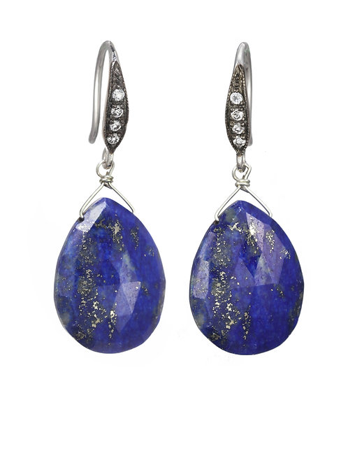 Margo Morrison - Lapis & White Sapphire Teardrop Earrings