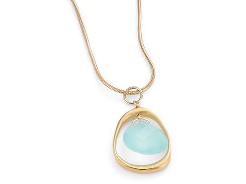 Open Circle With Chalcedony - Vermeil Necklace - Philippa Roberts