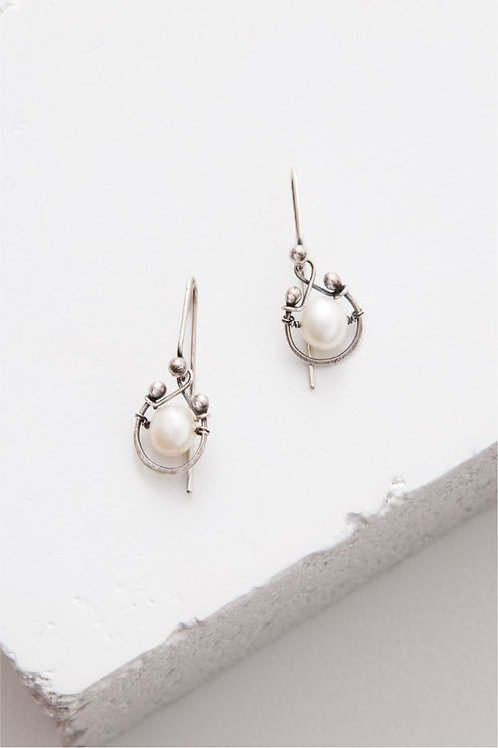 """Horseshoe"" Earrings - Sterling Silver & Freshwater Pearls"
