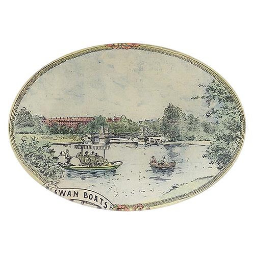 """John Derian -Boston Swan Boats 7"""" x 10"""" Oval"""