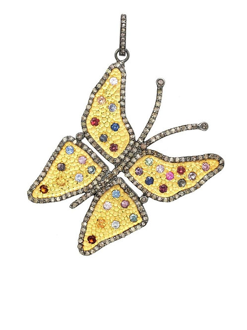 Diamond & Multi-colored Sapphire Butterfly Charm - Margo Morrison