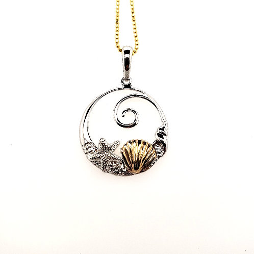 Shell Pendant - Sterling Silver & 14kt Gold
