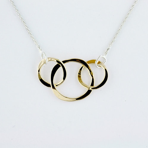 Three Circles Necklace - Sterling Silver & 14kt Gold