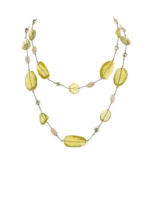 Margo Morrison - Lemon Quartz, Pyrite, & Moonstone Necklace