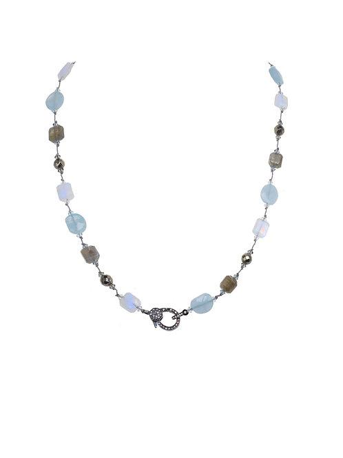Margo Morrison - Aquamarine, Moonstone, Labradorite & Diamond Clasp Necklace