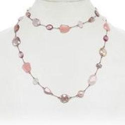 Rose Quartz, Morganite, Moonstone, & Chalcedony Necklace - Margo Morrison
